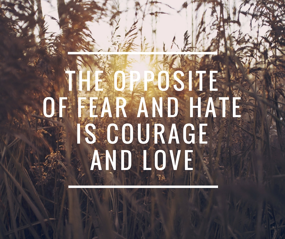 The Opposite of Fear and Hate is Courage and Love